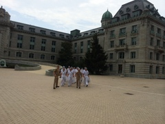 New plebes being marched around.