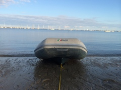 The runaway dinghy, unrepentant.