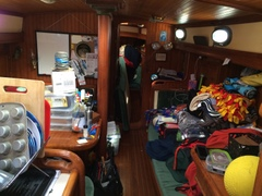 The cabin in disarray due to the many projects.
