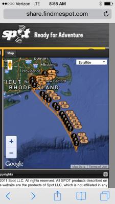 The SPOT tracker records progress