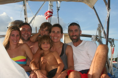 The extended family on the boat