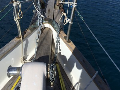 The windlass holding the anchor chain