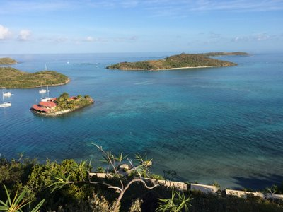 Saba Rock is the tiny island with the red-roofed hotel