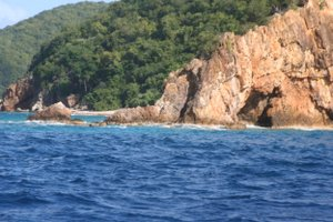 Rounding the point of Peter Island