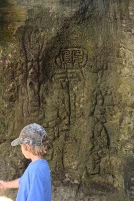 Malachi near some of the petroglyphs