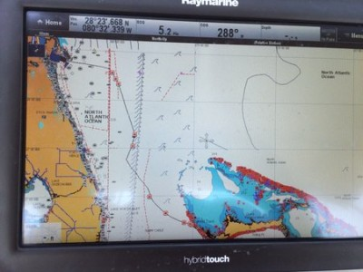 The black line our passage from West End, Bahamas to FL.