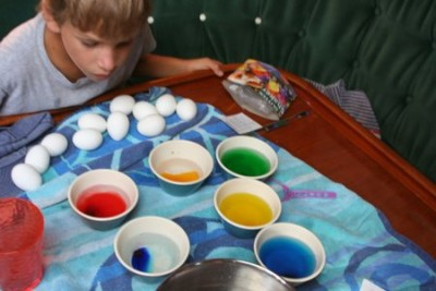Getting ready to decorate Easter eggs