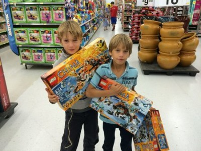 The boys have not had Legos in almost six months. I tell them they can spend their money on some big sets